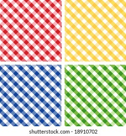 Seamless Cross weave Gingham Pattern Tiles: red, yellow, green, blue. EPS8 includes four pattern swatches (tiles) that will seamlessly fill any shape.
