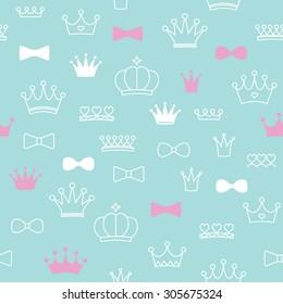 Seamless crown pattern. Vector illustration