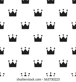 Seamless crown sign pattern on white background