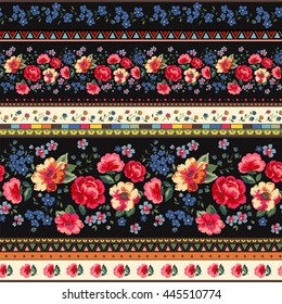Seamless Cuban Floral Border Pattern In Vector