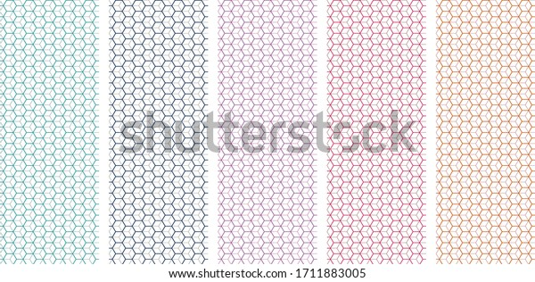 Seamless cube pattern with five attractive colors