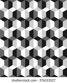 seamless cubic pattern with monochrome.hexagon textures.optical art