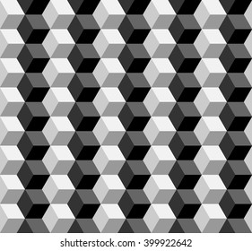 seamless cubic pattern monochrome.vector