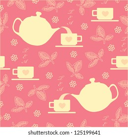 Seamless with a cup and a kettle on a pink background./ Pink pattern