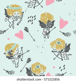 seamless cupid pattern