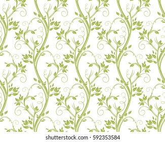 Seamless curly floral pattern. Stems and leaves of ornamental grasses.