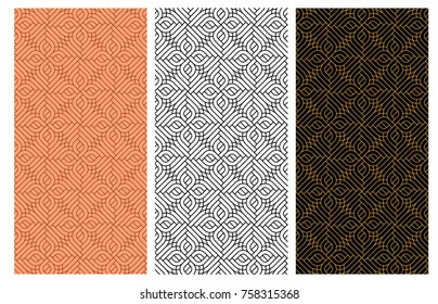 Seamless curve red brick pattern in India style, vector design