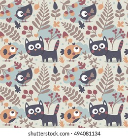 Seamless cute animal autumn pattern made with cat, bird, flower, plant, leaf, berry, heart, friend, floral nature berry acorn mushroom hello kitten