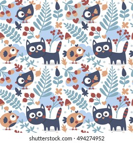 Seamless cute animal autumn pattern made with cat, bird, flower, plant, leaf, berry, heart, friend, floral nature berry acorn mushroom hello kitten cloud