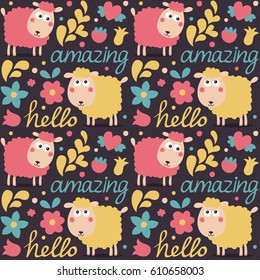 Seamless cute animal pattern made with sheep, flowers, plants, hearts, words amazing, hello, friends, love, couple