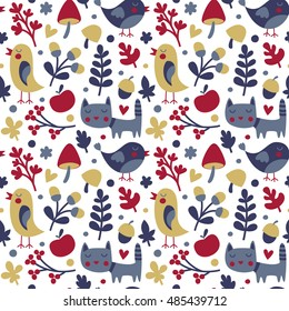 Seamless cute autumn pattern made with cat, bird, flower, plant, leaf, berry, heart, friend, floral, nature, acorn, Rowan