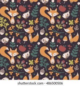 Seamless cute autumn pattern made with fox, bird, flower, plant, leaf, berry, heart, friend, floral, nature, acorn, mushroom, apple
