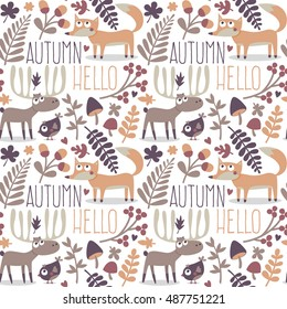 Seamless cute autumn pattern made with fox, bird, deer, moose, flower, plant, leaf, berry, heart, friend, floral, nature, acorn, mushroom, wild, wildlife, woodland