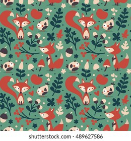 Seamless cute autumn pattern made with fox, bird, flower, plant, leaf, berry, heart, friend, floral, nature, acorn, mushroom