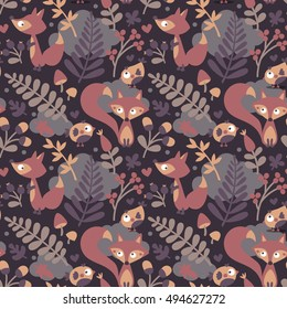 Seamless cute autumn pattern made with fox, bird, flower, plant, leaf, berry, heart, friend floral nature acorn Rowan mushroom wild cloud