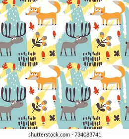 Seamless cute autumn pattern made with fox, deer, moose, flower, plant, leaf, berry, heart, friend, floral, nature, acorn, mushroom, wild, wildlife, woodland