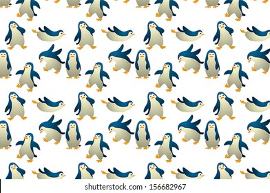 Seamless Cute Baby Penguin Background Pattern Icon Which Is Design To Join Properly When Making A
