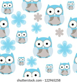 Seamless cute blue and gray owl  repeating background