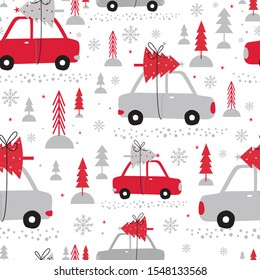 Seamless cute car bring Christmas tree with red and white colored, vector illustration