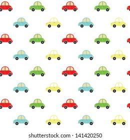 Seamless cute car pattern