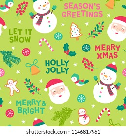 Seamless of cute cartoon character and decorative elements for christmas and new year background