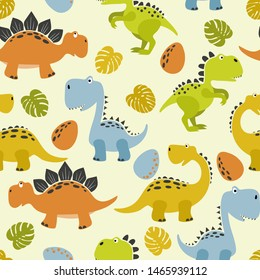 Seamless cute cartoon dinosaurs pattern. Vector colorful dino background for kids.