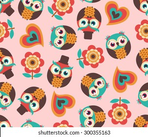 Cute owl cartoon wallpaper images stock photos vectors shutterstock seamless cute cartoon owls wallpaper pattern background voltagebd Image collections