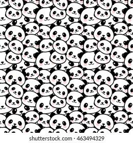 Seamless Cute Cartoon Panda Face Pattern