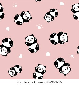 Seamless Cute Cartoon Panda Pattern