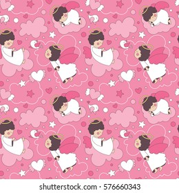 Seamless cute cartoon pattern with angels, baby, kid, children, wings, cloud, sky, heart, wallpaper, decoration, valentine's day pink