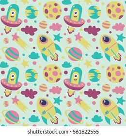 Seamless cute cartoon space pattern with spaceship, UFO, planet, cloud, moon, comet