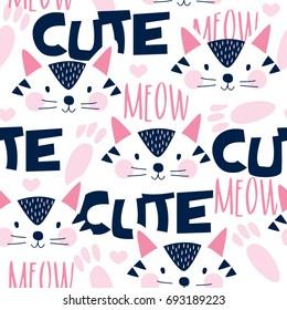 seamless cute cat face pattern vector illustration