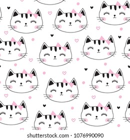 seamless cute cat pattern vector illustration