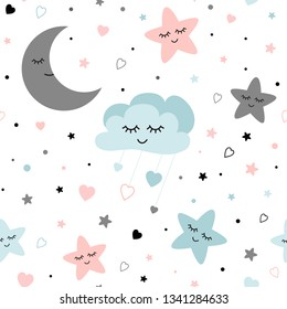 Seamless cute children pattern Cute baby stars and clouds moon Creative night style kids light pink blue grey color texture for fabric wrapping textile background Children pyjamas Vector illustration.