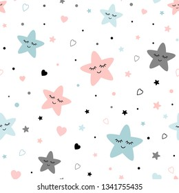 Seamless cute children pattern Cute baby stars heart background Creative night style kid light pink blue grey color texture for fabric wrapping textile background Children pyjamas Vector illustration.