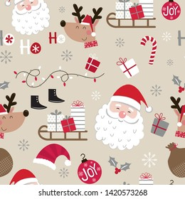 Seamless cute Christmas character design pattern