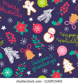 Seamless of cute christmas decorative elements pattern background
