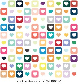 seamless cute and colorful hearts and geometric square vector pattern on white background