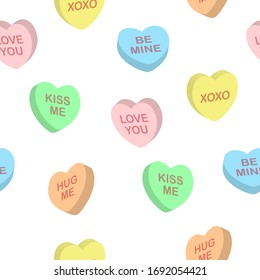 Seamless cute colorful vector valentine pattern with 3d pastel candy hearts with text on white background. Gift wrapping paper, interior, cloth, fabric or web design.