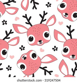 seamless cute deer pattern vector illustration