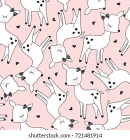 seamless cute deer pattern vector illustration