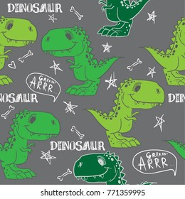 seamless cute dinosaur pattern. For textiles, clothing, wrapping paper, web. For boys and girls
