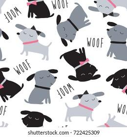 seamless cute dogs animal pattern vector illustration