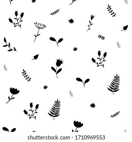 Seamless cute flat floral vector pattern background.  Black  hand drawn flower pattern on white background