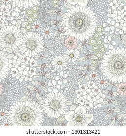 Seamless cute floral pattern with big and little flowers, tender pastel colors. Vector monochrome illustration in vintage style on gray background. Ditsy print.