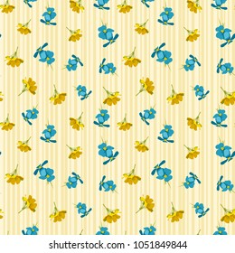Seamless cute floral pattern. Blue and yellow flowers wallpaper. Vector background illustration