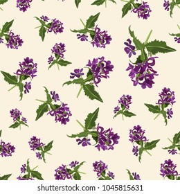 Seamless cute floral pattern. Purple flower wallpaper. Vector background illustration