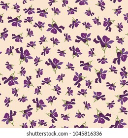 Seamless cute floral pattern. Purple flower wallpaper. Vector background illustration