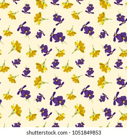 Seamless cute floral pattern. Purple and yellow flowers wallpaper. Vector background illustration