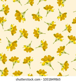 Seamless cute floral pattern. Yellow flower wallpaper. Vector background illustration